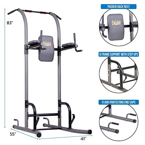 Product Image 4: Body Champ VKR1010 Fitness Multi function Power Tower / Multi station for Home Office Gym Dip Stands Pull Up Push up VKR, GREY, One Size