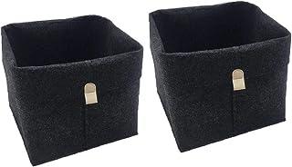 Dkhsy 2 pièces feutre panier de rangement salon Table à thé noir gris articles divers panier de rangement tissu feutre boî...