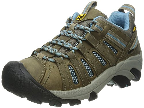 KEEN Women's Voyageur Hiking Shoe, Brindle/Alaskan Blue, 8 M US
