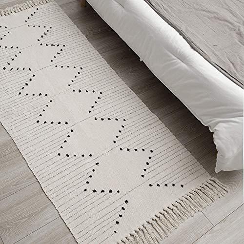 hi-home Teppich für Wohnzimmer, Boho Baumwolle Gewebte Teppiche Waschbar Badteppich Läufer mit Quasten für Schlafzimmer Eingangstür Küche Badezimmer 60x130cm(Beige)