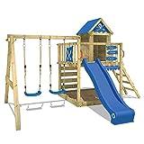 WICKEY Parque infantil de madera Smart Cave con columpio y tobogán azul, Casa de juegos de jardín con arenero y escalera para niños