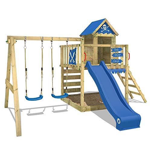 WICKEY Parque infantil de madera Smart Cave con columpio y tobogán azul, Casa de juegos de jardín...