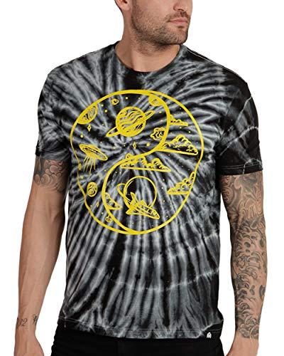INTO THE AM Yin Yang Men's Graphic Tee Short Sleeve Cool Novelty Design Crewneck Graphic T-Shirt for Men (Medium)