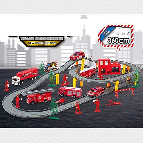 Slot Auto Voertuig Race Sets, Kinderen Spelen Treinrails Kinderspeelgoed Elektrisch Circuit Autoracen Eenvoudige Montagebaan Baan Puzzel Spoorauto Kleine Trein Jongen 3-6