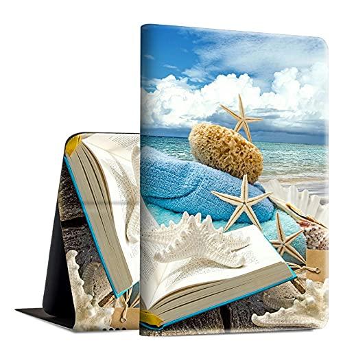 Rossy Funda para Amazon Fire HD 10 2021, Fire HD 10 Plus Tablet Case (11ª generación, 2021 lanzamiento), funda de piel sintética con función atril ajustable multiángulo, conchas marinas en la playa