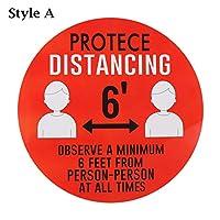ACAO 5ピースキープあなたの距離ステッカー自己粘着ビニール社会的分散安全警告ステッカー学校/インストラクター床デカール(Color:スタイルI)