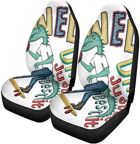 Set van 2 Auto Stoelhoezen Koele Leuke Dino En Skateboard Monster Alligator Dier Jongen Universele Auto Voorstoelen Beschermer Past Voor Auto