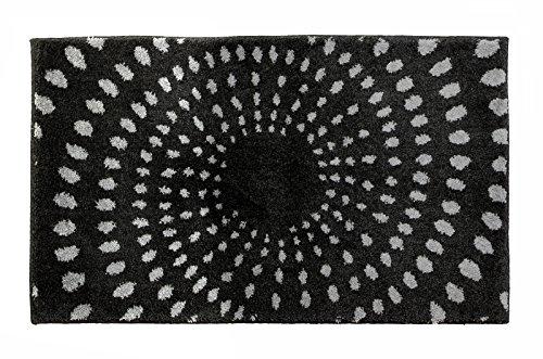 SCHÖNER WOHNEN-Kollektion, Mauritius, Badteppich, Badematte, Badvorleger, Design Kreise - anthrazit, Oeko-Tex 100 zertifiziert, 60 x 100 cm