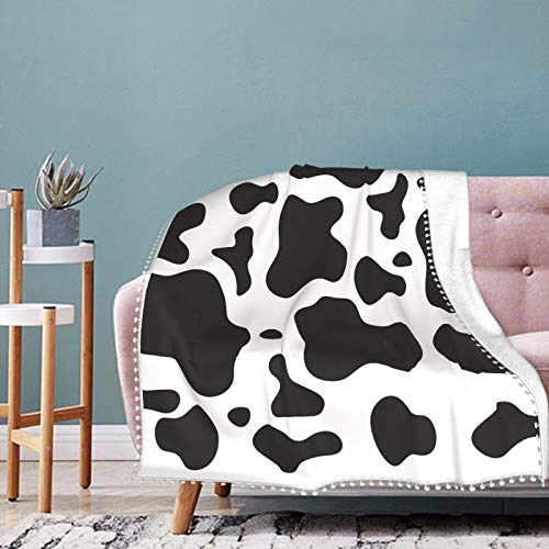 Cow Print Plush, Warm, Cozy Anti-Pilling Flannel Holiday Blanket 40'x30'