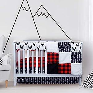 crib bedding and baby bedding crib bedding sets for boys - 4 piece woodland set for baby boy rustic nursery decor | quilt blanket, crib sheet, skirt and rail cover | deer antler, arrow buffalo plaid (woodland deer)