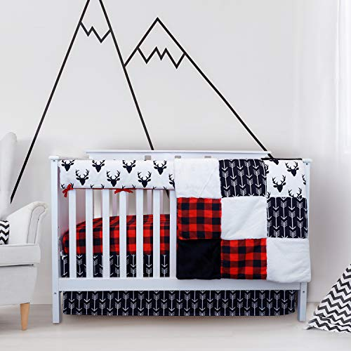 Crib Bedding Sets for Boys - 4 Piece Woodland Set for Baby boy Rustic Nursery Decor | Quilt Blanket, Crib Sheet, Skirt and Rail Cover | Deer Antler, Arrow Buffalo Plaid (Woodland Deer)