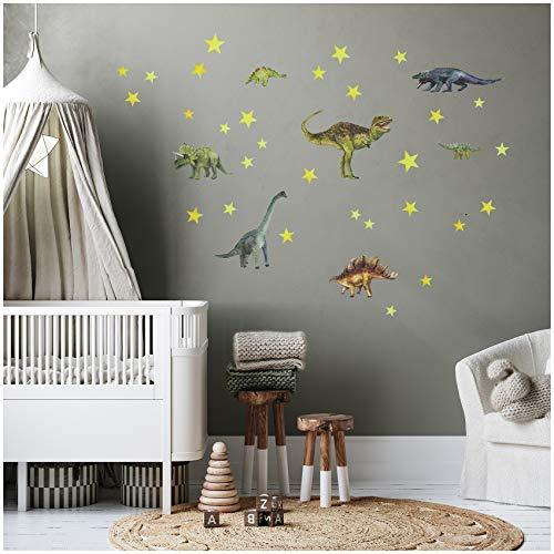yabaduu Wandsticker Sticker Aquarell Tiere Selbstklebend für Kinderzimmer Babyzimmer Spielzimmer Mädchen Junge (Y037-9 Dinos)