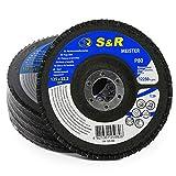 S&R Fächerschleifscheibe P80 125x22,2 * 80 für Schleifen von Stahl und Holz, T29, 5 Stk, für...