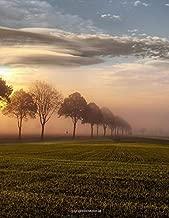 Notebook: landscape field sunset sky clouds trees grass