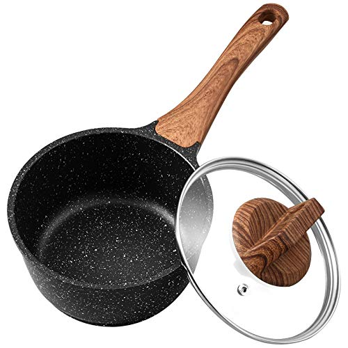 ESLITE LIFE Saucepan with Lid, 1.5 Quart Nonstick Sauce Pan, Small Soup Pot Milk Pan with Granite Coating, Induction Compatible