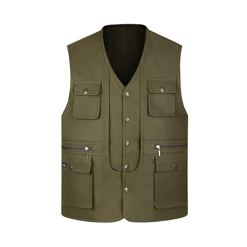 ハントスクランブル戸惑うLGQ-HW 中年とカジュアルのベストジャケット、春と秋の薄いジレ写真男性キルトパッド入り釣りチョッキ (Color : C, Size : XL)