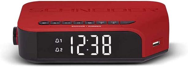 Schneider Consumer - Radio despertador VIVA SC310ACLRED, Radio despertador, Sintonizador digital FM, Alarma DUAL, Pantalla LCD, USB para carga de dispositivos, Rojo