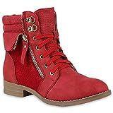 Stiefelparadies Mujer botinas con Cordones Encaje Cremallera 144302 Rojo 39 Flandell