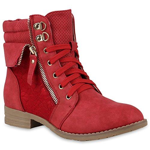 Stiefelparadies Damen Stiefeletten Schnürstiefeletten Leder-Optik Schuhe Spitzenstoff Boots Zipper...