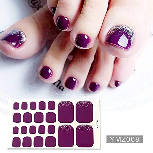JSIYU nail sticker Zehennagelaufkleber Nagellack für Zehen Shinny Solid Silver Stickers...