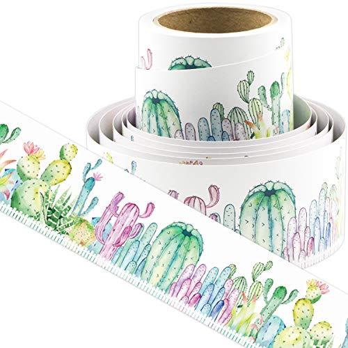 Watercolor Cactus Bulletin Board Borders Straight Border Trim for Classroom Decoration Chalkboard Whiteboard 36ft