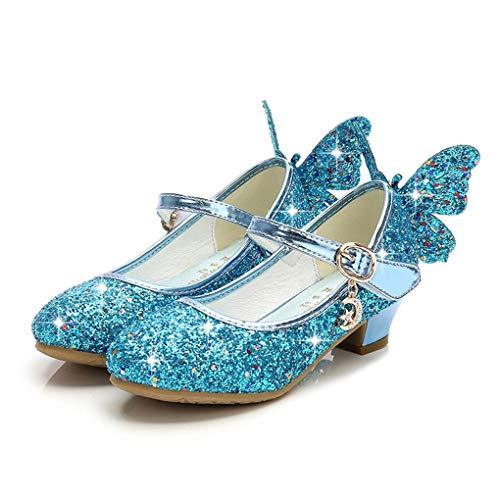 Prinzessin Schuhe für Mädchen, Dorical Prinzessin Gelee Partei Absatz-Schuhe Sandalette Stöckelschuhe Bling Bowknot einzelne Sandalen Säuglingsschule Walker Schuhe für Kinder(Z1-Blau,35 EU)