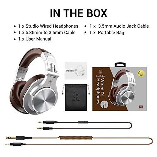 WYH Música A71 Stereo Gaming Headset Auriculares de DJ del Estudio sobre la Oreja con Cable de Auriculares con micrófono for PC PS4 Xbox One Gamer Resistente al Sudor (Color : Silver)
