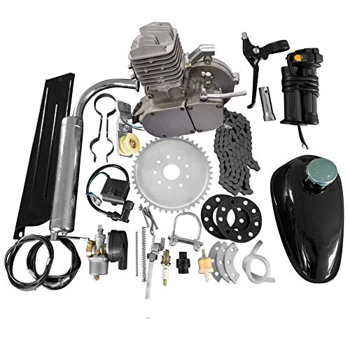MOTOOS 80CC 24' 26' 28' 2 Stroke Bike Bicycle Motorized Cycle Petrol Gas Engine Motor Kit Set (Silver)