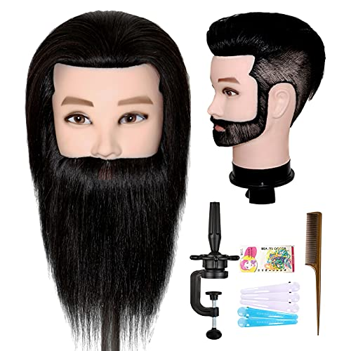 ISHOT Male Mannequin Head,12' Doll Head,Training Head,With 100% Real Human Hair for Hairdressers,Hair Stylists,Cosmetologist,Barber Shop and Cosmetology School