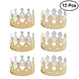 Tinksky 12 pcs Golden Crown Chapeaux D'anniversaire Chapeaux Chapeaux pour Enfants Adulte Partie De Papier Couronnes Anniversaire Célébration Fête Fournitures Photo Props