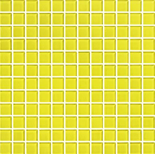 Mosaico enmallado de Cristal 30x30cm. Color Amarillo