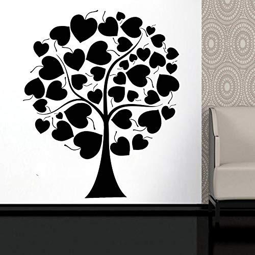jiushivr Amor corazón árbol Vinilo Pared Pegatina Sala de Estar Naturaleza Pared calcomanía Dormitorio decoración Accesorios Familia calcomanías Arte 57x68 cm