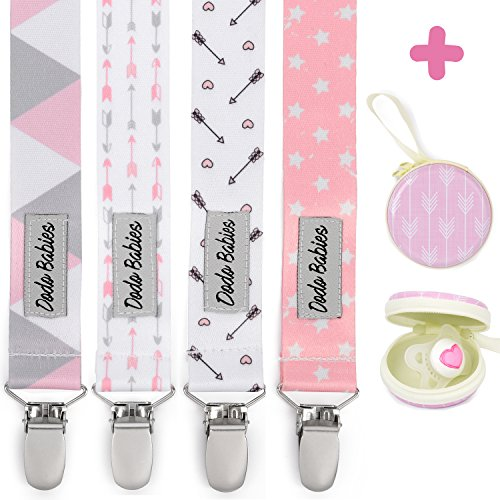 Pacifier Clip by Dodo Babies Pack of 4 + Pacifier Case, PremiumQuality for Girls Modern Designs Universal Holder Leash for Pacifiers, Teething Toy or Soothie, Baby Shower Gift Set