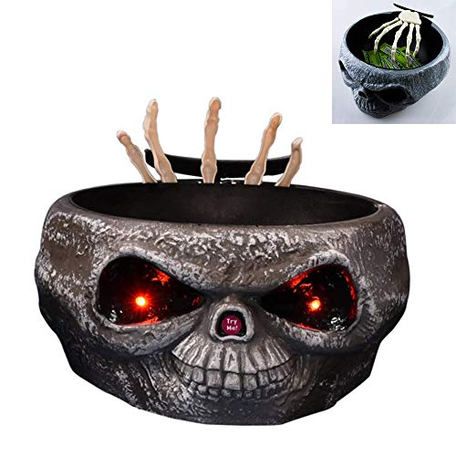 Halloween Electric Induction Stretching Claw Fruit Dish Candy Bowl with Moving Skeleton Hand, Light Up Eyes, Monster Sound Effects, Battery Powered