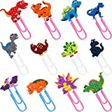 12 Pieces Dinosaur Bookmark Clip Cute Dinosaur Paper Clip PVC Soft Bookmark Holders Animal Paper Clips for Fixing and Location Birthday School Presents