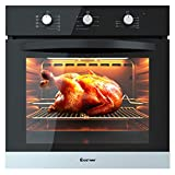 COSTWAY 24' Built-In Single Wall Oven Electric 2.5 Cu. Ft. Capacity Tempered Glass Multi-Function European...