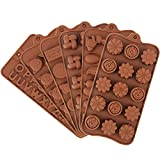 6 Piezas Molde de Silicona para Chocolate,6 Formas Diferentes Moldes de Bombones Antiadherentes para Caramelos con Flores Alfabeto Animal Forma Marrón