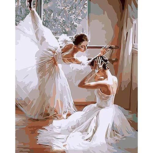 Diy Ballet pintura por números lienzo figura pintura al óleo por números pintado a mano Diy regalo decoración de la pared del hogar A9 50x65cm