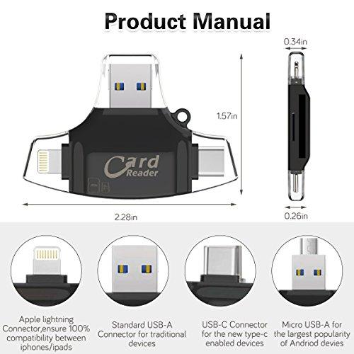 SD Kartenleser Micro SD Card Reader, 4 in 1 Kartenlesegerät USB C/USB 2.0/ Micro USB OTG Adapter Speicherkartenleser für PC/MacBook/Android Handy/TV