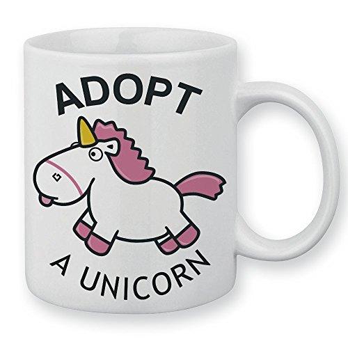 Pouny Pouny Mug Adopt a Unicorn Fluffy unicorn, adopte une licorne rose et blanche, chibi et kawaii - Chamalow shop