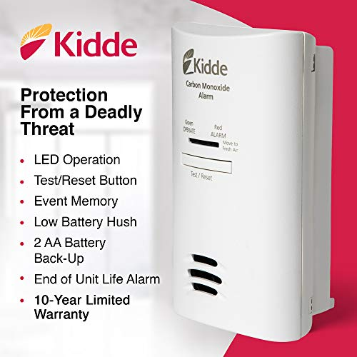 Kidde AC Carbon Monoxide Detector Alarm | Plug-In with Battery Backup | Model KN-COP-DP2