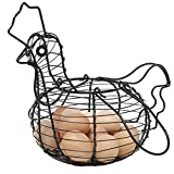 Farmhouse Style Black Metal Wire Chicken Design Egg Basket/Decorative Kitchen Storage Baskets