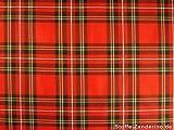 Tartan (tessuto a quadri scozzesi), rosso, ca. 145cm