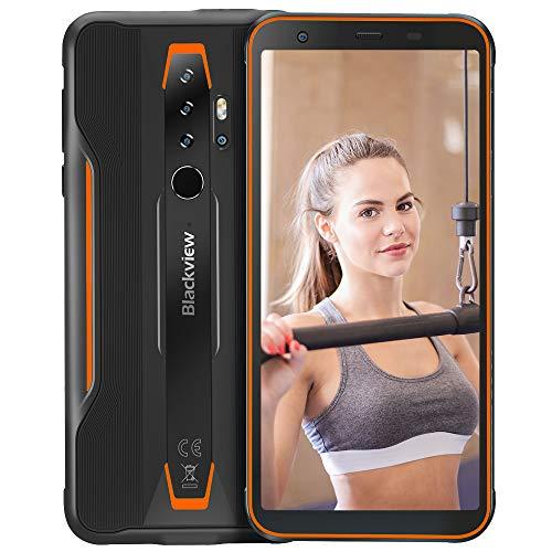 Blackview BV6300 Pro (2020) Móvil Resistente Android 10, 11.6 mm Cuerpo, Helio P70 6GB+128GB, Cámara Cuádruple HDR 16MP, Carga Inalámbrica, Robusto Teléfono Impermeable IP68, 5.7 '' HD+ NFC Naranja