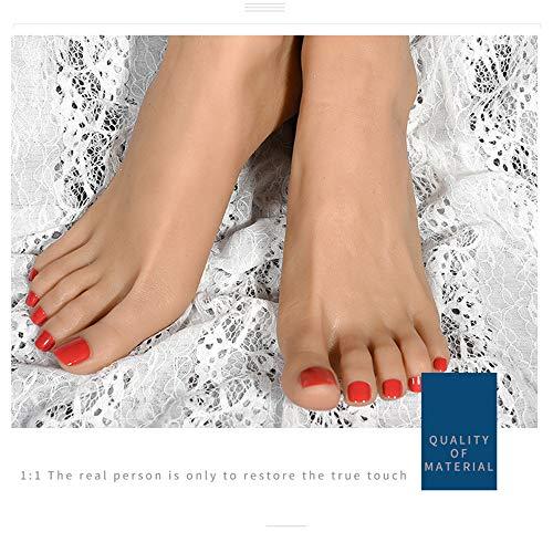 CZA Pied Fétiches, Simulation Silicone Femme Modèle Pied - Props Chaussures Modèle Leg Modèle Silicone Pied Tir Props, Toe Positionnement,Wheat,Left Foot