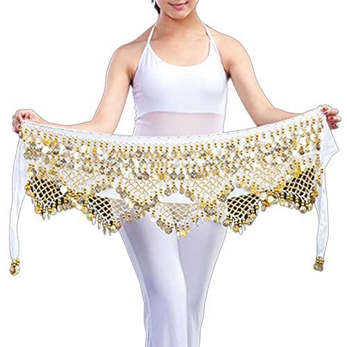 WEIJ Barriga Danza Cintura Cadena Gypsophila Cintura Bufanda Escaramujo Toalla Indio Danza Disfraz Sagú Cinturón con Oro Monedas Faldas (Color : White - Gold)