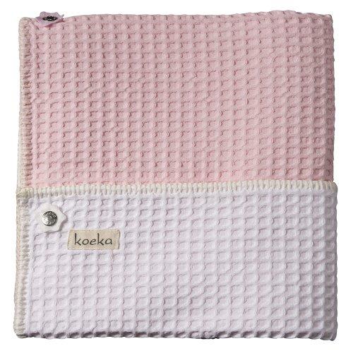 Koeka - Manta para cuna de bebé, color rosa claro y blanco