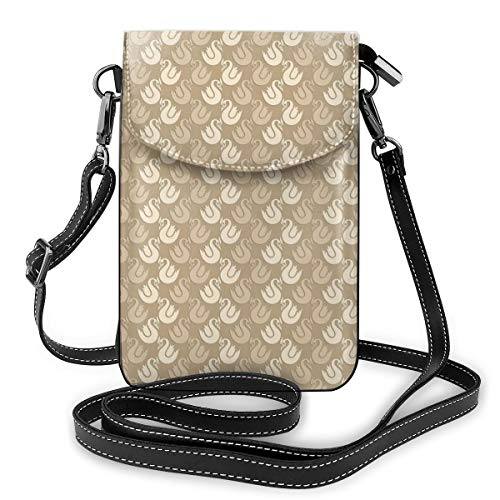 Women Small Cell Phone Purse Crossbody,Rococo Style Abstract Curvy Silhouettes With Antique Look In Brown Shades