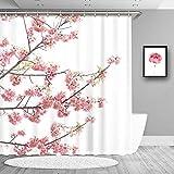 True Holiday Cherry Blossoms Duschvorhang, Wasserdichter Stoff dekorative Badezimmer Duschvorhänge mit 12 Vorhanghaken, 180,9 x 182,9 cm Farbe: Rosa, Weiß
