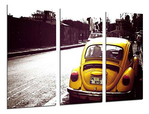 Cuadro Fotográfico Beatle, Coche Escarabajo Amarillo, Coche Vintage Tamaño total: 97 x 62 cm XXL